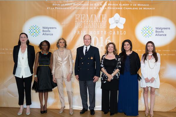 Lisa Harrington, Juliana Rotich, Dr.ssa Barra, S.A.S. Principe Albert II, Cinzia Colman, Imen Cherif e Adriana Santanocito